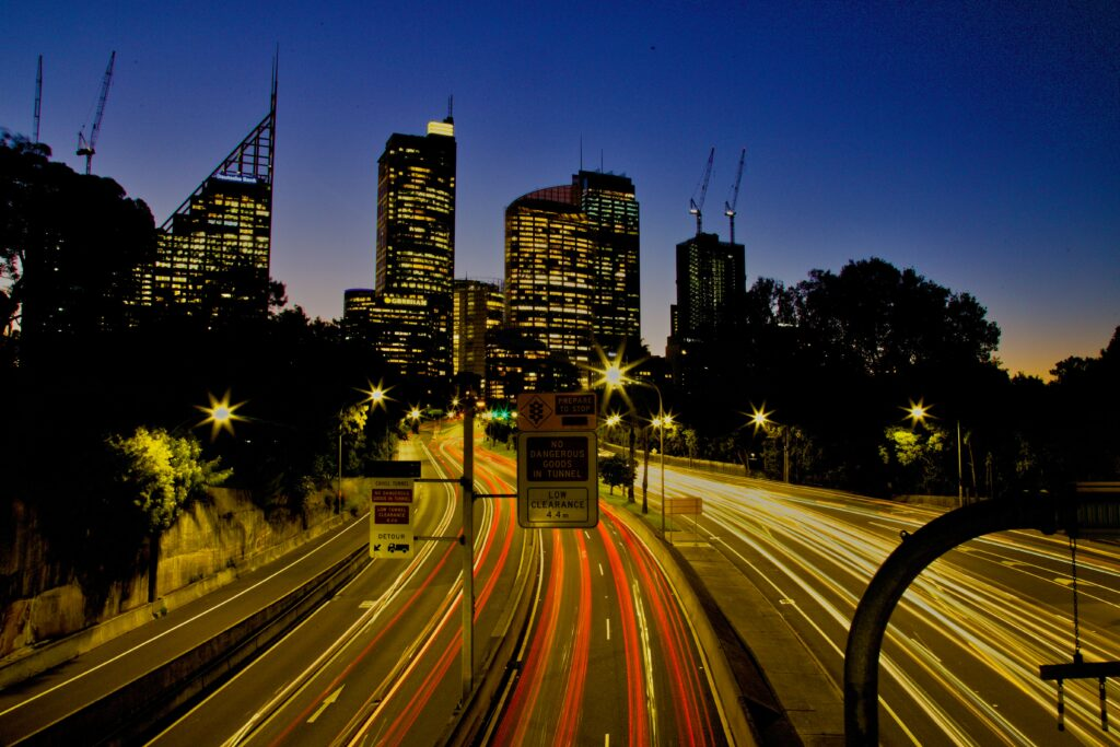 Sydney road at night