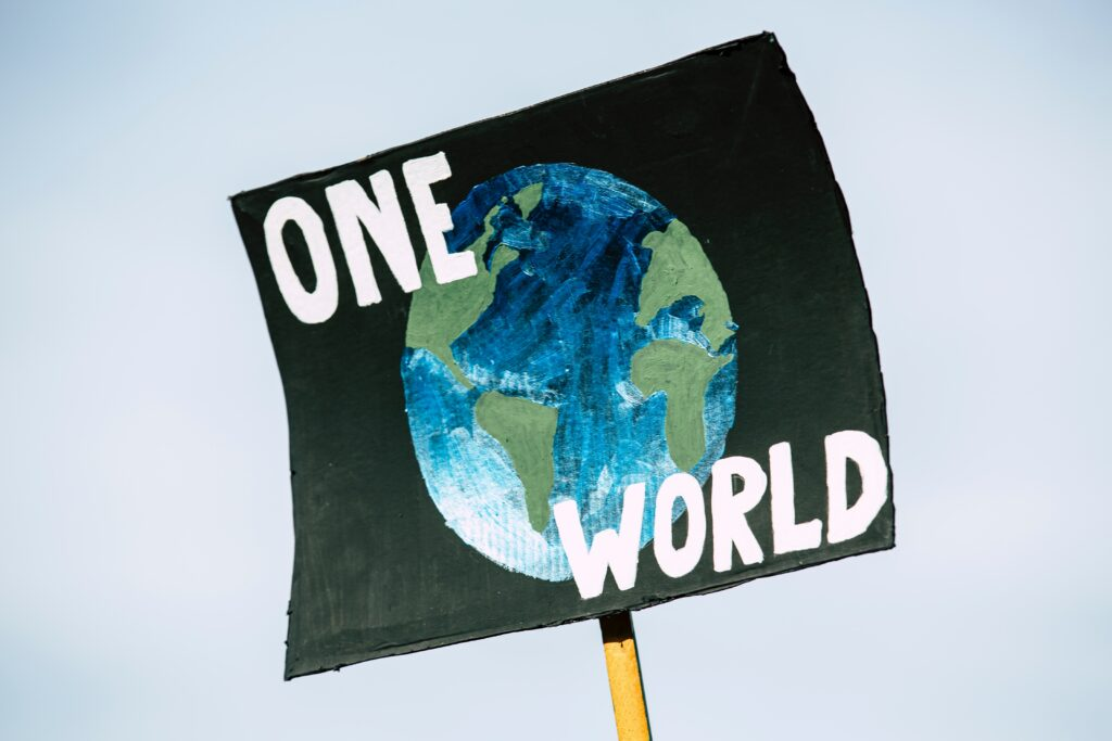 One World banner for climate change